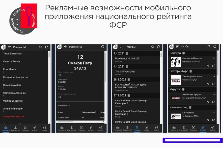Рекламные возможности мобильного приложения национального рейтинга ФСР